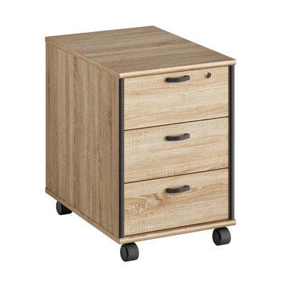 Caisson pour bureau 3 tiroirs en chêne sonoma et gris - RAFAEL