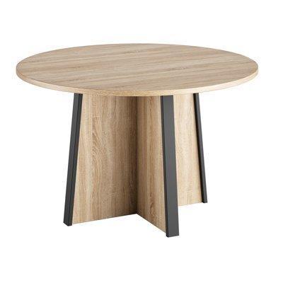 Table ronde 120 cm en chêne sonoma et gris - RAFAEL