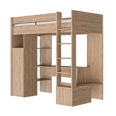 Lit mezzanine 90x200 cm avec bureau et rangements naturel - JEF