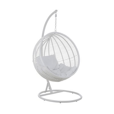 Fauteuil rond suspendu 119x110x193 cm en métal blanc - KYOTO