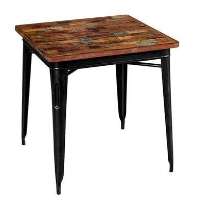 Table carrée 70 cm en bois recyclé et métal noir - ARTY