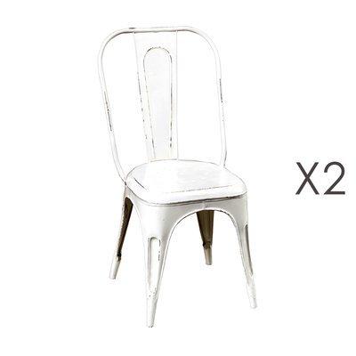 Lot de 2 chaises 47x43x97 cm en métal blanc - ARTY