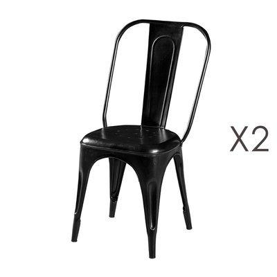 Lot de 2 chaises 45x43x95 cm en métal noir - ARTY