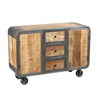 Buffet sur roulettes en bois naturel et métal gris - NEVADA