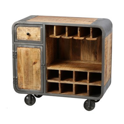 Meuble bar sur roulettes en bois naturel et métal gris - NEVADA