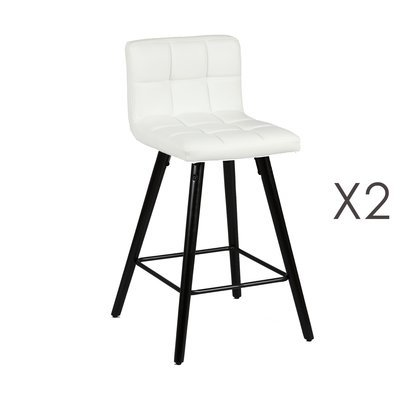 Lot de 2 tabourets de bar 39x43x91 cm blanc et anthracite - ASTORIA