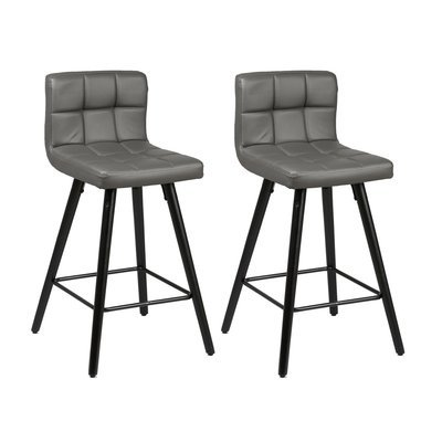 Lot de 2 tabourets de bar 39x43x91 cm gris et anthracite - ASTORIA