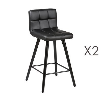 Lot de 2 tabourets de bar 39x43x91 cm noir et anthracite - ASTORIA