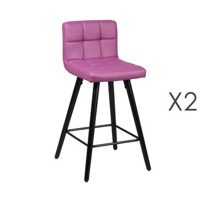 Lot de 2 tabourets de bar 39x43x91 cm violet et anthracite - ASTORIA