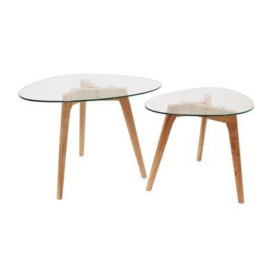 Lot de 2 tables gigognes forme galet en verre et bois - BALTIC