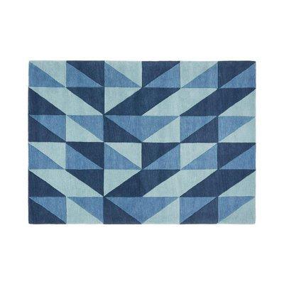 Tapis 160x230 cm de style scandinave en laine bleue - NEDLE