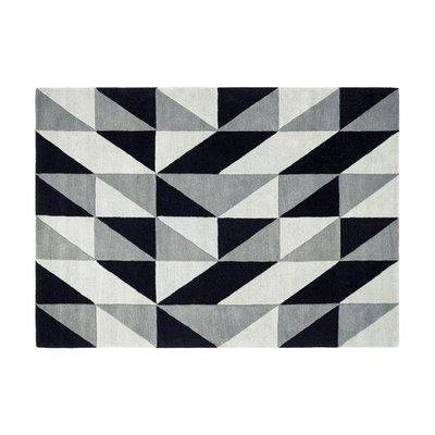 Tapis 160x230 cm de style scandinave en laine noire - NEDLE