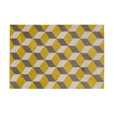 Tapis 120x170 cm en polyester jaune et gris - RENZO