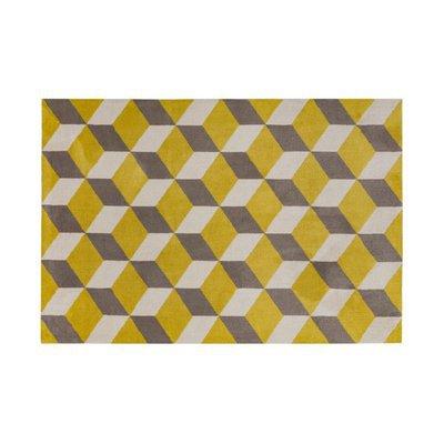 Tapis 160x230 cm en polyester jaune et gris - RENZO