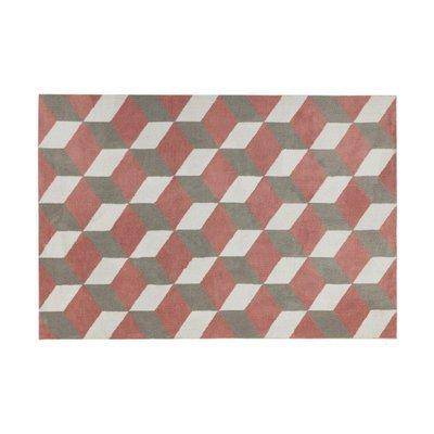 Tapis 120x170 cm en polyester rouge et gris - RENZO