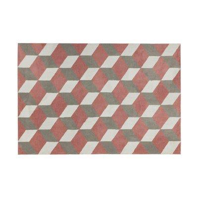 Tapis 160x230 cm en polyester rouge et gris - RENZO