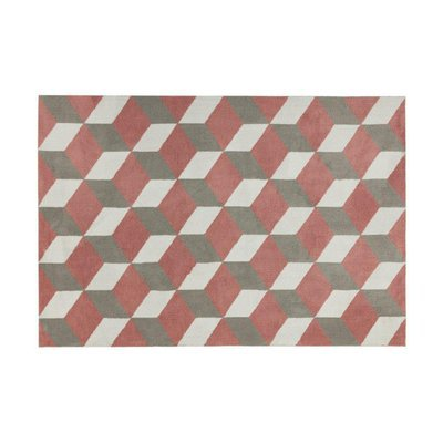 Tapis 200x300 cm en polyester rouge et gris - RENZO