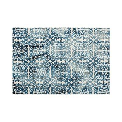 Tapis 120x170 cm en laine et coton bleu - ALGO