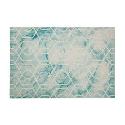 Tapis 120x170 cm en laine et coton bleu clair - ALGO