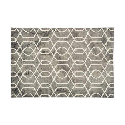 Tapis 120x170 cm en laine et coton gris - ALGO