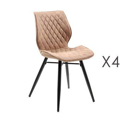 Lot de 4 chaises repas en tissu cuivré - LAURA