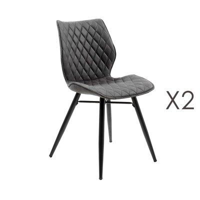Lot de 2 chaises repas en tissu gris foncé - LAURA
