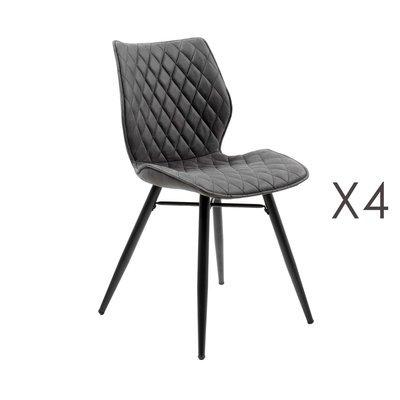 Lot de 4 chaises repas en tissu gris foncé - LAURA