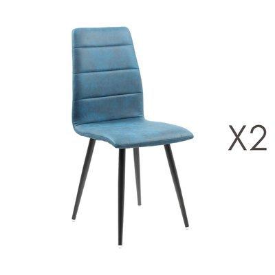 Lot de 2 chaises repas en tissu bleu - RAINA