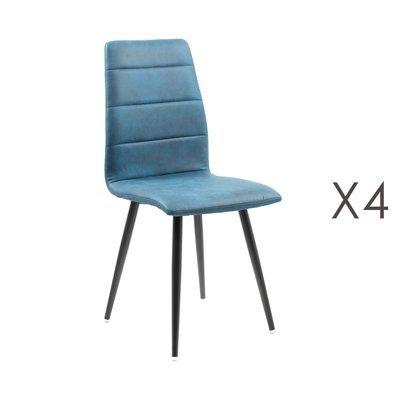 Lot de 4 chaises repas en tissu bleu - RAINA