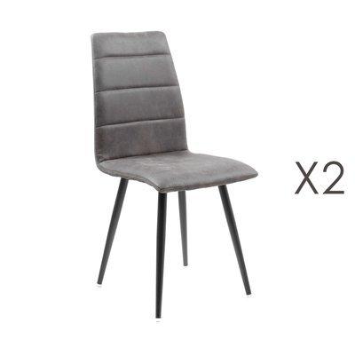 Lot de 2 chaises repas en tissu gris foncé - RAINA