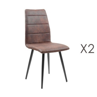 Lot de 2 chaises repas en tissu marron - RAINA