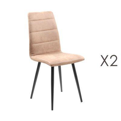 Lot de 2 chaises repas en tissu cuivré - RAINA