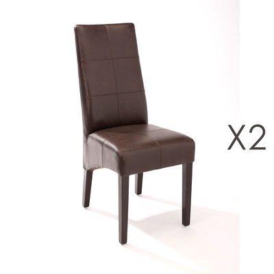 Lot de 2 chaises de repas 44x63x103 cm marron - LUKE