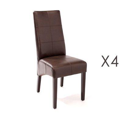 Lot de 4 chaises de repas 44x63x103 cm marron - LUKE