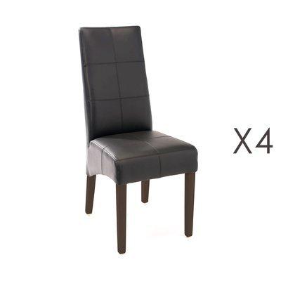 Lot de 4 chaises de repas 44x63x103 cm noir - LUKE