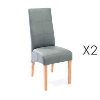 Lot de 2 chaises de repas 44x63x103 cm gris - LUKE