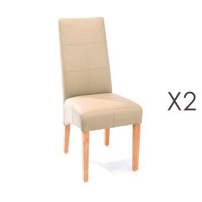 Lot de 2 chaises de repas 44x63x103 cm beige - LUKE