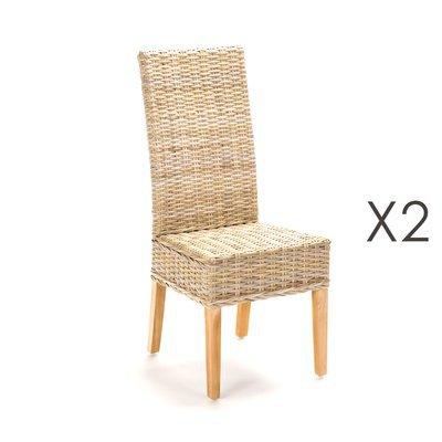 Lot de 2 chaises repas en kubu - SUCCESS