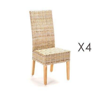 Lot de 4 chaises repas en kubu - SUCCESS
