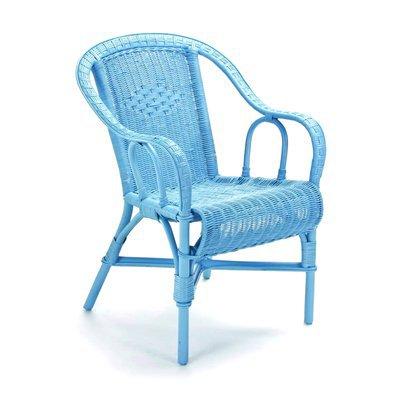 Fauteuil crapaud 57x62x84 cm en rotin bleu - MORITZ
