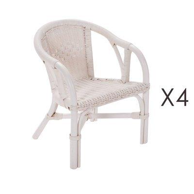 Lot de 4 fauteuils enfant en rotin blanc - STARK