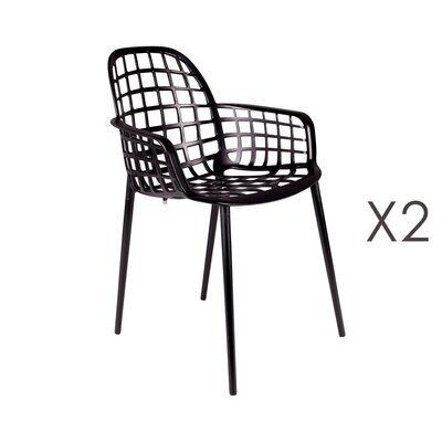 Lot de 2 chaises de jardin en aluminium noir - KUIP