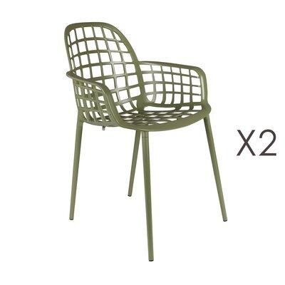 Lot de 2 chaises de jardin en aluminium vert - KUIP