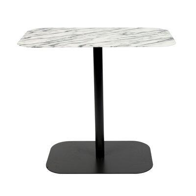 Table d'appoint 50x30x42,5 cm en marbre et acier noir - SNOW