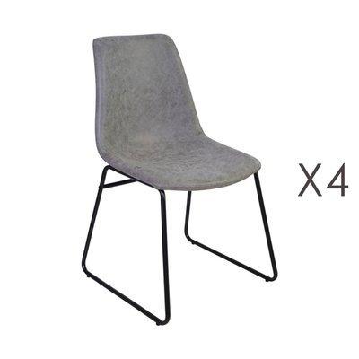Lot de 4 chaises de repas 50,5x50x84,5 cm en PU gris - PALMY