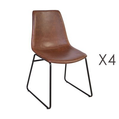 Lot de 4 chaises de repas 50,5x50x84,5 cm en PU marron - PALMY