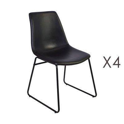 Lot de 4 chaises de repas 50,5x50x84,5 cm en PU noir - PALMY