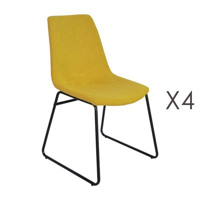 Lot de 4 chaises de repas 50,5x50x84,5 cm en tissu jaune - PALMY