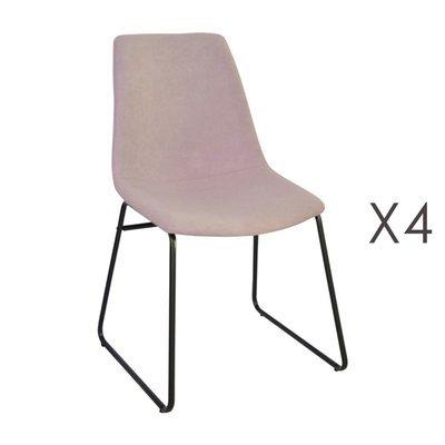 Lot de 4 chaises de repas 50,5x50x84,5 cm en tissu rose - PALMY