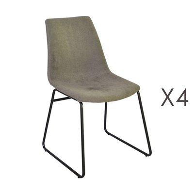 Lot de 4 chaises de repas 50,5x50x84,5 cm en tissu taupe - PALMY